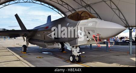 A U.S. Air Force F-35 Joint Strike Fighter (Lightning II) jet in a hangar. This F-35 is assigned to the 33rd Fighter - Stock Photo