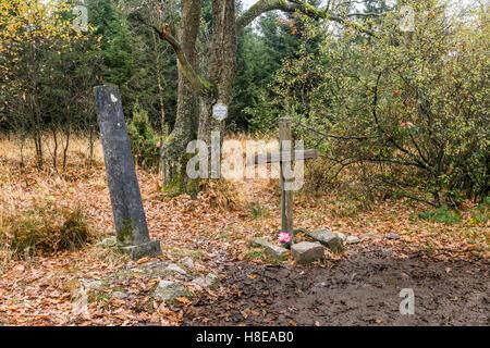 Kreuz im Venn - Cross in Venn near Baraque Michel, High Venn, Hautes Vagnes, Hohes Venn, Eifel - Stock Photo