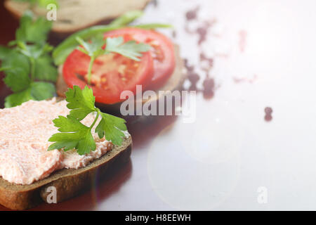 sandwich bread tomato sauce green healthy vegetables - Stock Photo