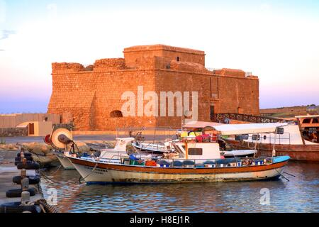 Paphos Castle, Paphos, Cyprus, Eastern Mediterranean Sea, Europe - Stock Photo
