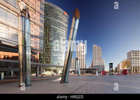 Potsdamer Platz Square with DB Tower, Berlin Mitte, Berlin, Germany, Europe - Stock Photo
