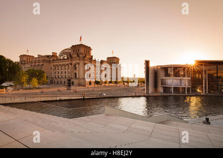 Reichstag Parliament Building at sunset, The Paul Loebe Haus building, Mitte, Berlin, Germany, Europe - Stock Photo