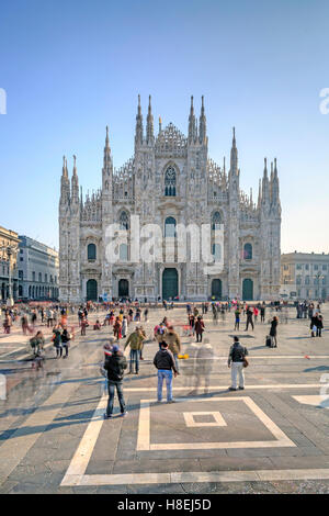 View of the square and the gothic Duomo, the icon of Milan, Milan, Lombardy, Italy, Europe - Stock Photo