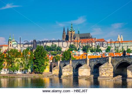 Prague Castle, UNESCO World Heritage Site, on the Vltava River, Stare Mesto (Old Town), Prague, Czech Republic, - Stock Photo