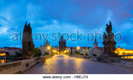 Charles Bridge at dawn, UNESCO World Heritage Site, Stare Mesto (Old Town), Prague, Czech Republic, Europe - Stock Photo