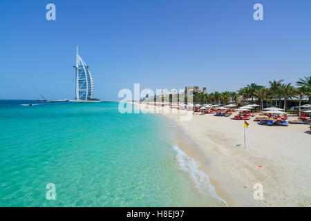 Burj Al Arab, Jumeirah Beach, Dubai, United Arab Emirates, Middle East - Stock Photo