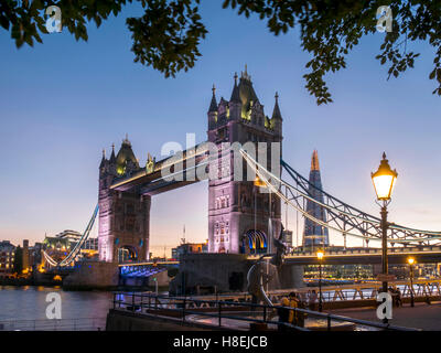 Tower Bridge and Shard at dusk, London, England, United Kingdom, Europe - Stock Photo