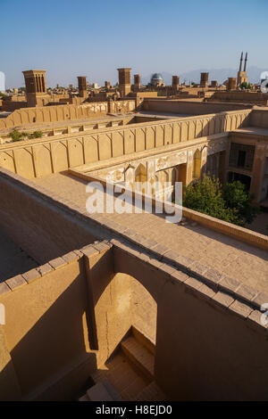 Cityscape at dusk, Yazd, Iran, Middle East - Stock Photo