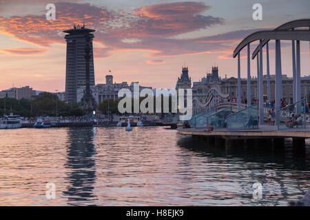 Port Vell at sunset, Barcelona, Catalonia, Spain, Europe - Stock Photo