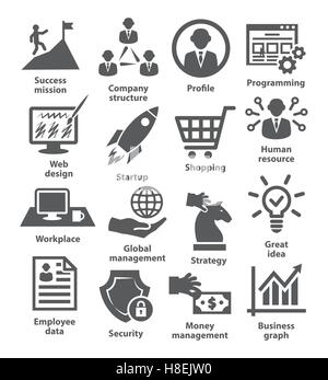 Business management icons on white. Pack 29. - Stock Photo