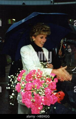 HRH Diana The Princess of Wales visits Preston January 1993 - Stock Photo