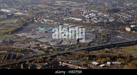 aerial view of The Meadowhall Shopping Centre, Sheffield, UK - Stock Photo