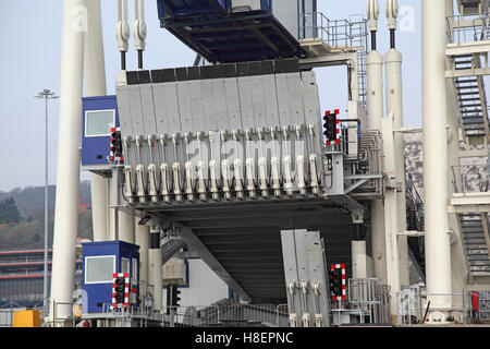 Seaward view of multi-level vehicle loading ramp on ferry berth No 6 at the port of Dover, Kent, UK. - Stock Photo