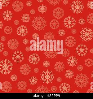 Gorgeous snowflakes background in golden and red. Vector illustration - Stock Photo