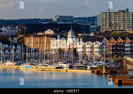 Yachts moored in Town Quay Marina, Southampton, u.k. - Stock Photo