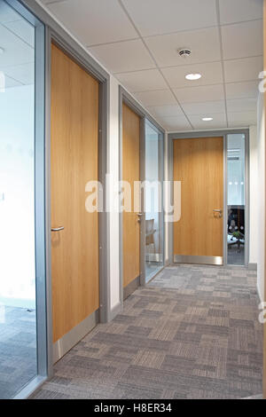 Corridor in a modern office building showing glazed partition walls, grey carpet and timber fire doors - Stock Photo