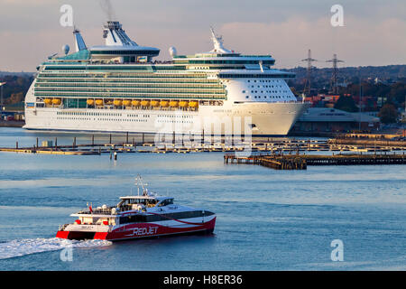 Royal Caribbeans Navigator of the seas moored in Southampton Docks. - Stock Photo