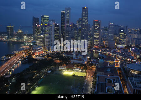 View from above over the Cricket Club towards the financial district, Singapore River and Boat Quay, Skyline, Singapore - Stock Photo