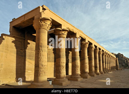 East collonade at Temple of Isis on Philae Island, Lake Nasser near Aswan, Egypt, North Africa - Stock Photo