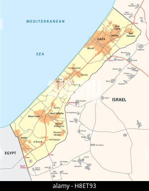 gaza strip map - Stock Photo