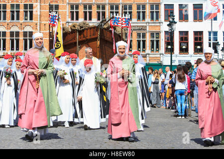 The Bruges' Promise Procession (a medieval Catholic parade held every year since 1304) in Bruges, Belgium - Stock Photo