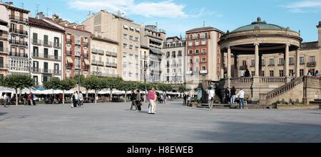 Summer day in Plaza del Castillo in Pamplona, Spain - Stock Photo