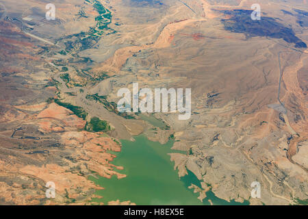 Aerial view of Hoover Dam near Las Vegas, United States - Stock Photo