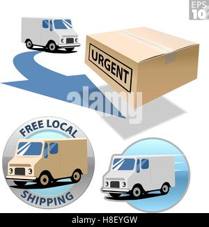 Delivery truck with urgent box, free local shipping, fast delivery - Stock Photo