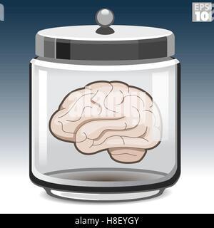 Human brain in a glass jar - Stock Photo