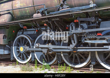Detail of the wheels of a rusting steam locomotive. - Stock Photo