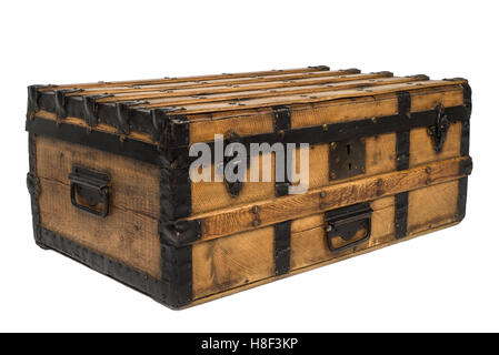 Antique old wooden chest on white background - Stock Photo