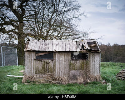 an old derelict fallen down shed in the countryside - Stock Photo