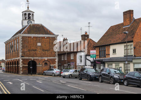 View of the market hall in the High Street in Old Amersham, Buckinghamshire, England. November 2016 - Stock Photo