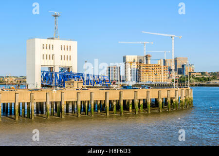 Woolwich Ferry, a free vehicle ferry service across the River Thames in East London - Stock Photo