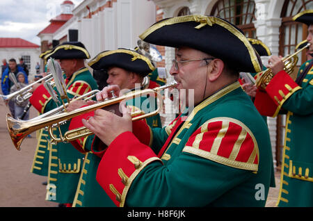 Russia. St. Petersburg. Palace 'Monplaisir' at Peterhof. Orchestra in uniform of the Life Guards Preobrazhensky - Stock Photo