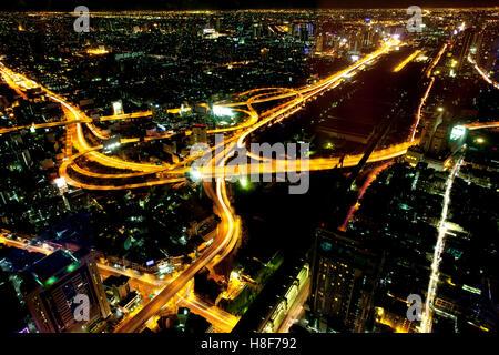Bangkok skyline at night, Bangkok, Thailand - Stock Photo