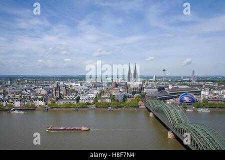 Skyline withof Cologne Cathedral, Rhine and Hohenzollern Bridge, panoramic view, Cologne, North Rhine-Westphalia - Stock Photo