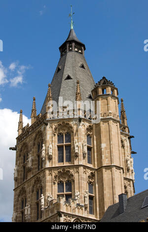 Ratsturm tower, town hall, late Gothic style, Cologne, North Rhine-Westphalia - Stock Photo