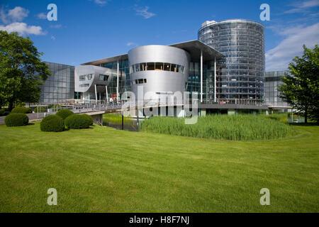 Glaeserne Manufaktur Transparent Factory, auto manufacturing, factory, VW, Volkswagen, Grosser Garten, Dresden, - Stock Photo