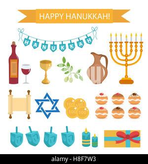 Hanukkah set of cartoon icons. Hanukkah Icons with Menorah, Torah, Sufganiyot, Olives and Dreidel. Happy Hanukkah - Stock Photo