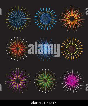 Fireworks icons set.  vector on black background. Holiday and party firework  collection.  illustration - Stock Photo