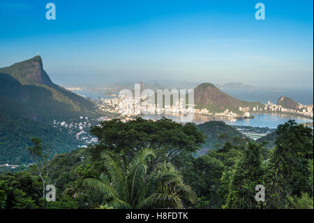 View of the dramatic natural skyline from the surrounding jungle at the Vista Chinesa scenic overlook in Rio de - Stock Photo