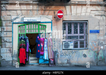 TBILISI, GEORGIA, 16 AUGUST, 2016: old vintage clothing for sale near the antic shop - Stock Photo