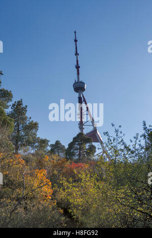 TBILISI, GEORGIA, 16 AUGUST, 2016: Tbilisi TV tower on Mount Mtatsminda - Georgia. - Stock Photo