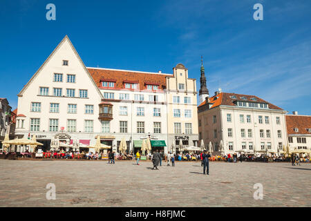 Tallinn, Estonia - May 2, 2016: Tourists and ordinary citizens are on Town Hall square in old Tallinn, bright spring - Stock Photo