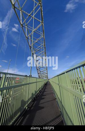 Runcorn to Widnes Silver Jubilee road bridge walkway, A533, Halton, Cheshire, England, UK - Stock Photo