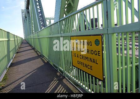 No-Climbing sign,Runcorn to Widnes Silver Jubilee road bridge, A533, Halton, Cheshire, England, UK - Stock Photo