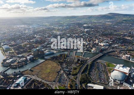 Belfast November 2016 aerial city centre - Stock Photo