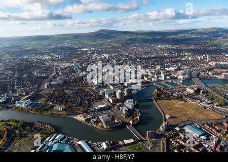 Belfast November 2016 aerial city centre - Stock Photo