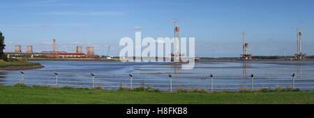 Panorama of new Mersey gateway bridge,being built, Runcorn, Cheshire, England,UK - Stock Photo